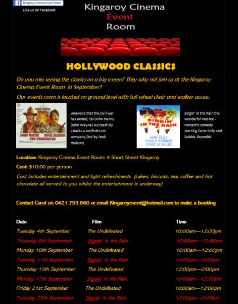 Kingaroy Cinema Event Room Seniors Movie